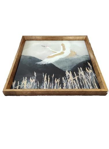 Arte Casero Cam Baskı Kuş Tepsii 40x40 CM Renkli